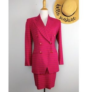Vintage Christian Dior Striped Power Skirt Suit 2